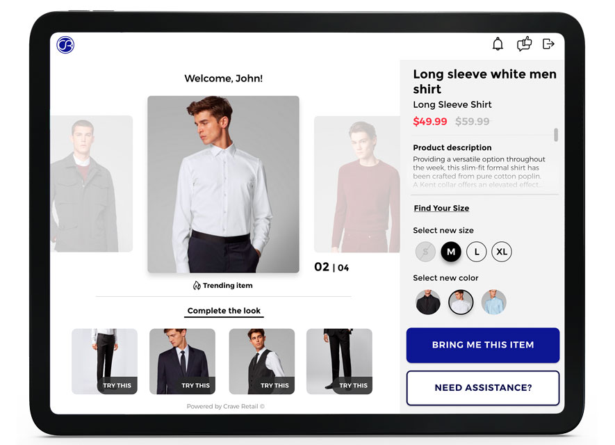 screenshot of crave retail technology recommending a style
