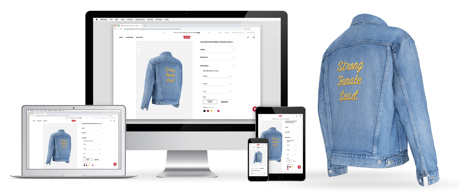 screenshot of how Spectrum's technology is used to customize a Levi's jacket as seen on various devices