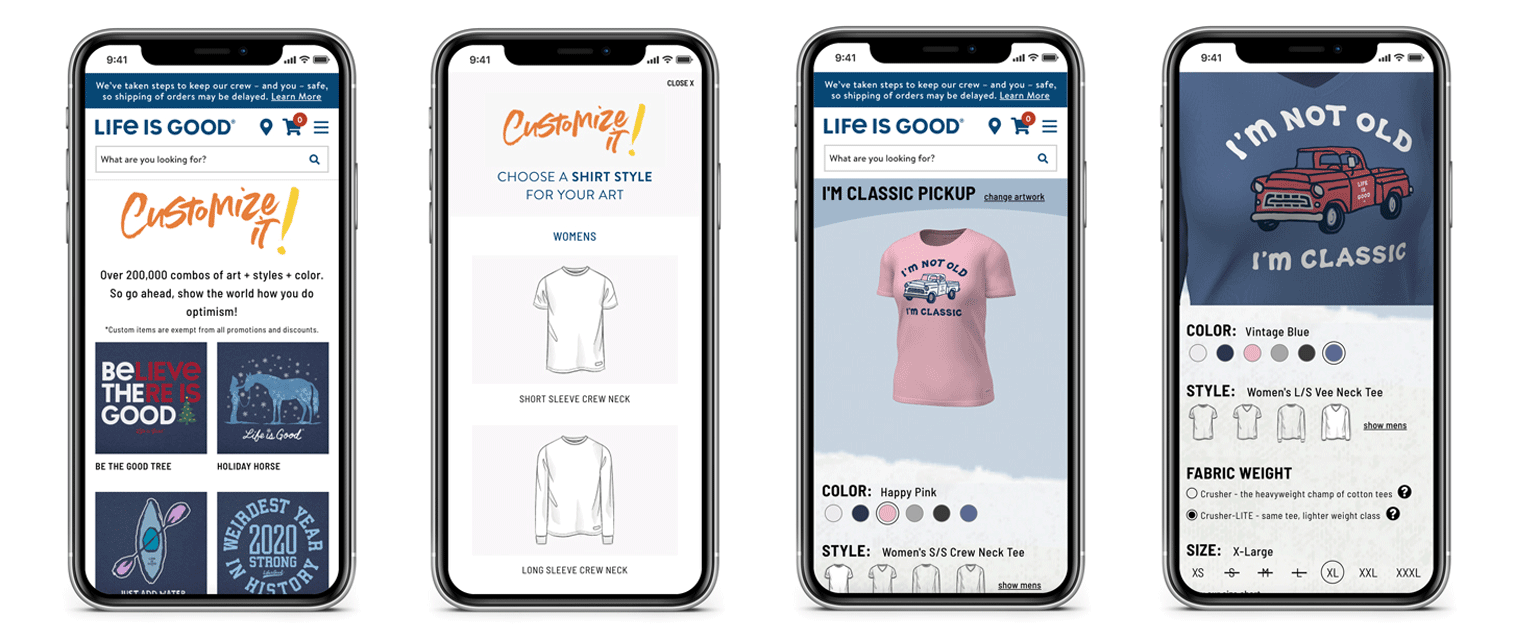 Mobile devices showing screenshots of how the customization tool is used to personalize tees