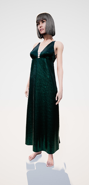 Image of female avatar in a green dress
