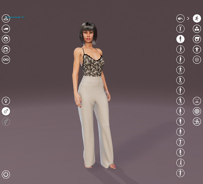 Image of a female avatar in pants and a camisole